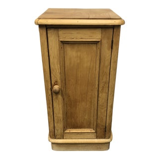 Antique Pine Wood Single Door Side Table For Sale