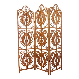 1970s Vintage Bohemian Rattan Folding Screen For Sale