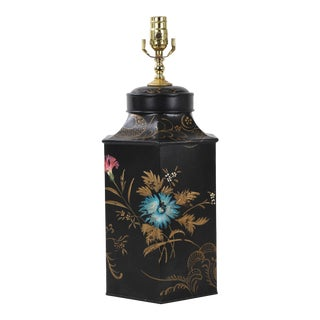 Vintage English Export Famille Rose Hexagon Style Tea Caddy Lamp For Sale