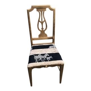 Antique Zebra Seat Lyre Accent Chair Lyre Details For Sale
