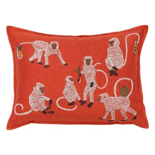 Boho Chic Monkey Business Vermilion Pillow For Sale