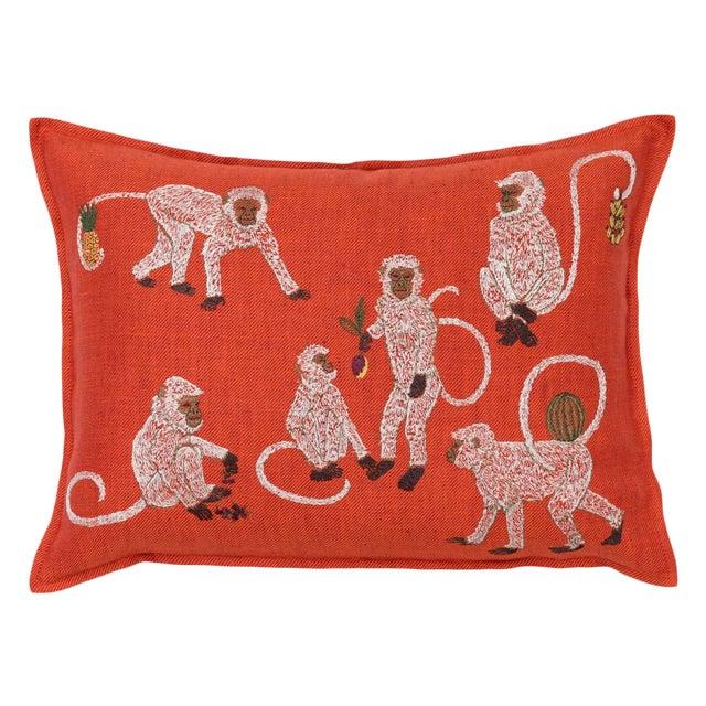 Boho Chic Monkey Business Vermilion Pillow For Sale