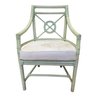 McGuire Sea Foam Green Target Back Rattan Chair + Hide Cushion For Sale