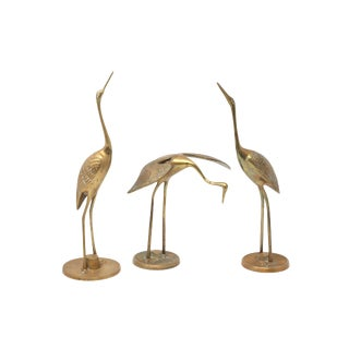 Vintage Brass Cranes - Set of 3