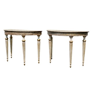 Pair of Italian Neoclassic Style Painted Console Tables For Sale