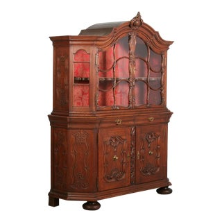 19th Century French Oak Vitrine Cabinet For Sale