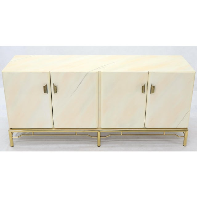 Mid-Century Modern White Lacquer Faux Finish Door 4 Doors Credenza on Brass Base For Sale - Image 4 of 11