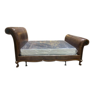 Traditional Ralph Lauren Leather Sleigh Bed For Sale