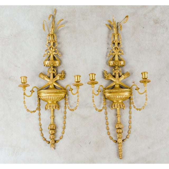 20th C. French Neoclassical Giltwood and Angel Sconces - a Pair For Sale - Image 13 of 13