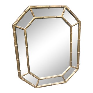 Vintage Chinoiserie Style Faux Bamboo Octagonal Mirror For Sale