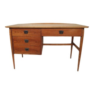 Vintage Mid Century Modern Writing Desk with Drawers For Sale