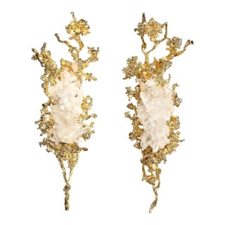 Claude Boeltz 24kt Gold-Plated Exploded Bronze Sconces w/ Rock Crystals - A Pair