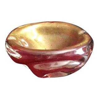 Rare Vintage Red and Gold Murano Ashtray / Bowl For Sale
