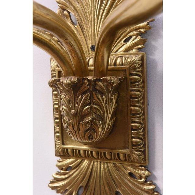 Cast Brass Early Electric Sconce For Sale - Image 10 of 11