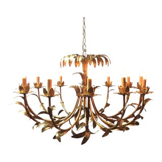 Hollywood Regency Italian Palm Design Gilt Tole Chandelier For Sale