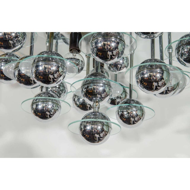 Chrome Mid-Century Modern Space Age Chandelier For Sale - Image 7 of 8