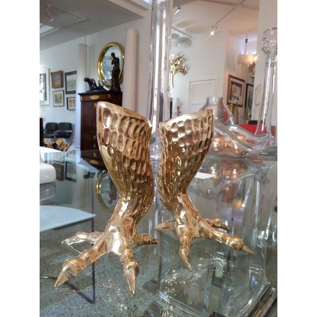 Brass Eagle Talon Candlesticks 1960s Italy - a Pair For Sale - Image 9 of 11