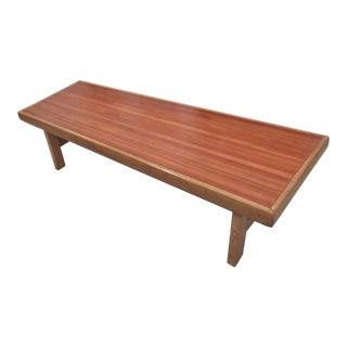 1970s Mid Century Modern Bowling Alley Coffee Table/Bench For Sale