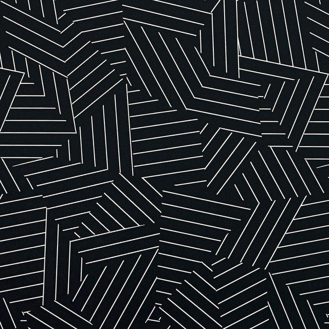 Schumacher Schumacher Deconstructed Stripe Geometric Wallpaper in Ivory on Black - 2-Roll Set (9 Yards) For Sale - Image 4 of 5