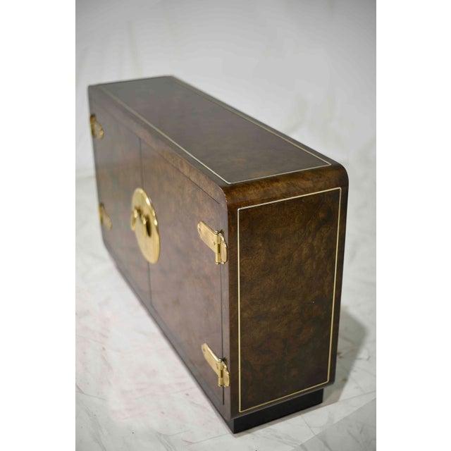 Mastercraft 1970s Mastercraft William Doezema Burled Amboyna Wood and Brass Buffet Credenza For Sale - Image 4 of 13