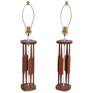 "Tony Paul for Westwood Sculpted Walnut & White ""Catkin"" Table Lamps, 1950s - a Pair For Sale"
