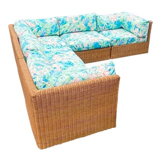 Vintage Coastal Woven Rattan Printed Sectional For Sale