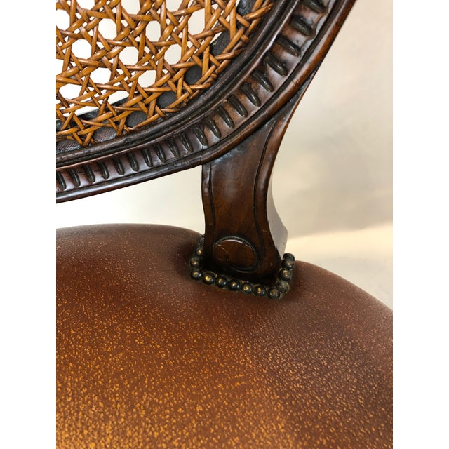 Brown Caned Cameo Back Armchair With Leather Seat For Sale - Image 8 of 12