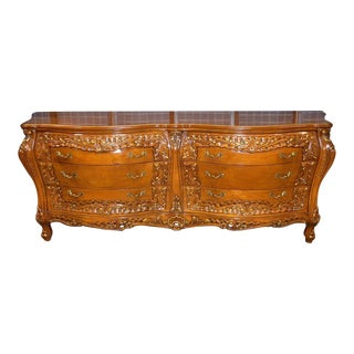 Roma Renaissance Style Carved Bombe 6-Drawer Dresser For Sale