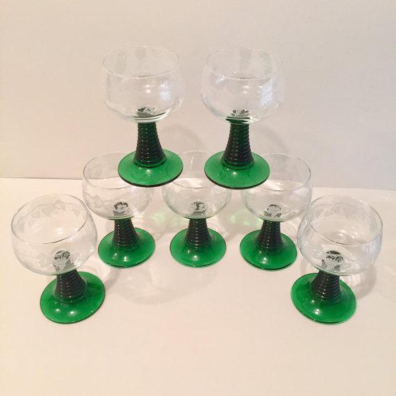 Crystal Roemer Rhine Wine Glasses - Set of 7 - Image 3 of 6