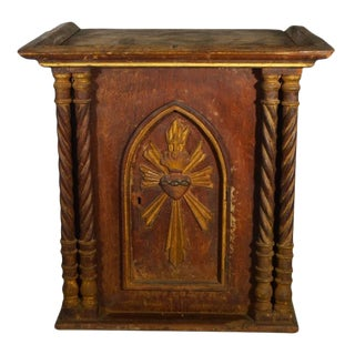 Antique Indian Christian Carved Wooden Shrine with Silk, 19th Century For Sale