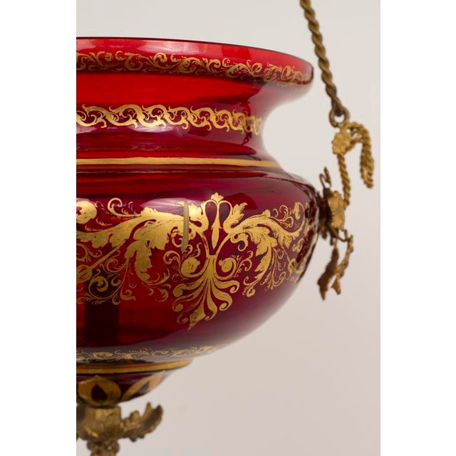 Traditional Red Glass Russian Lantern For Sale - Image 3 of 8