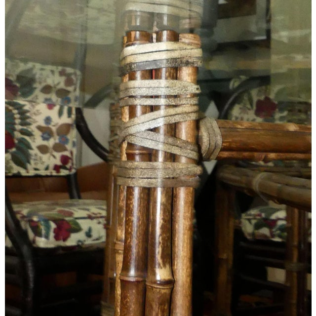 McGuire Bamoo and Laced Rawhide Octagonal Dining Table For Sale - Image 11 of 13