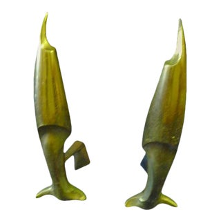 Pierre Emile Legrain Art Deco Brass Fish Andirons - A Pair