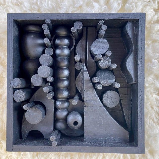 Black Contemporary Assemblage Sculpture After Louise Nevelson For Sale - Image 8 of 8