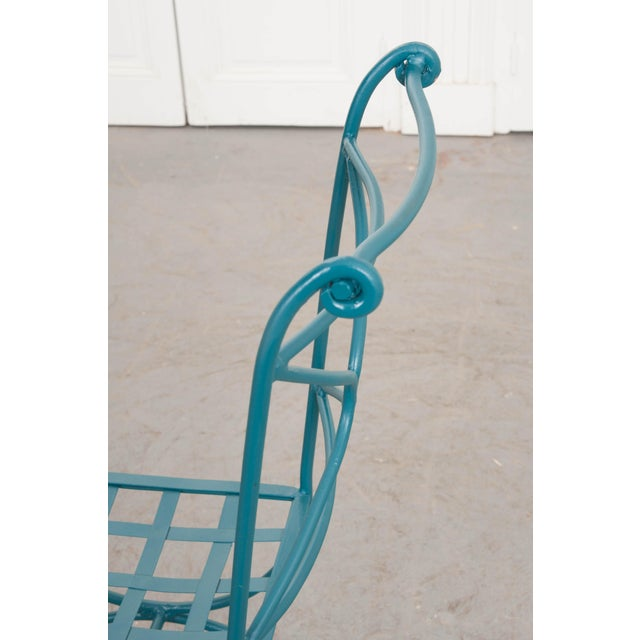 Turquoise Suite of Eight Early 20th-Century Neoclassical-Style Painted Wrought-Iron Side Chairs For Sale - Image 8 of 13