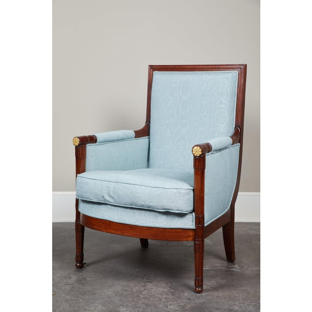 Wood Pair of Empire Mahogany Bergeres Chairs For Sale - Image 7 of 8
