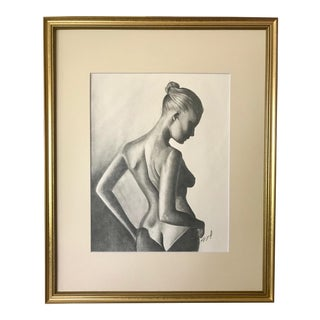 Vintage Original Drawing Nude Woman For Sale