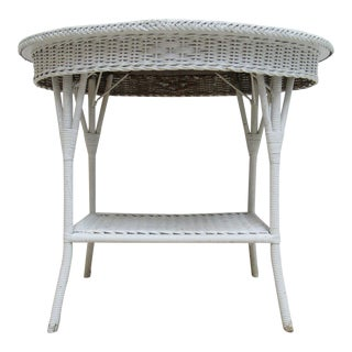 Antique Wicker Outdoor Side Table For Sale