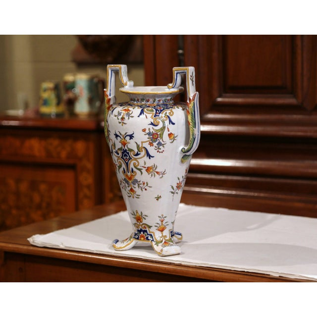 French 19th Century French Hand-Painted Ceramic Vase With Handles From Rouen Normandy For Sale - Image 3 of 11