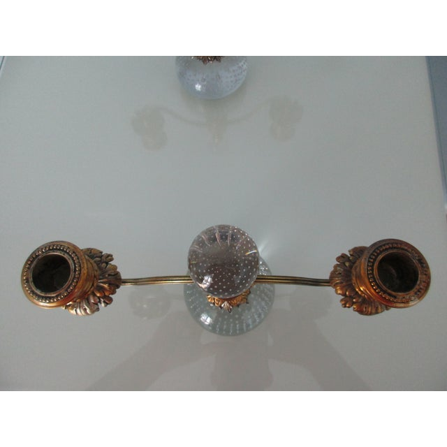 Pairpoint Gilt Metal and Bubble Glass Candelabras - A Pair For Sale - Image 9 of 13