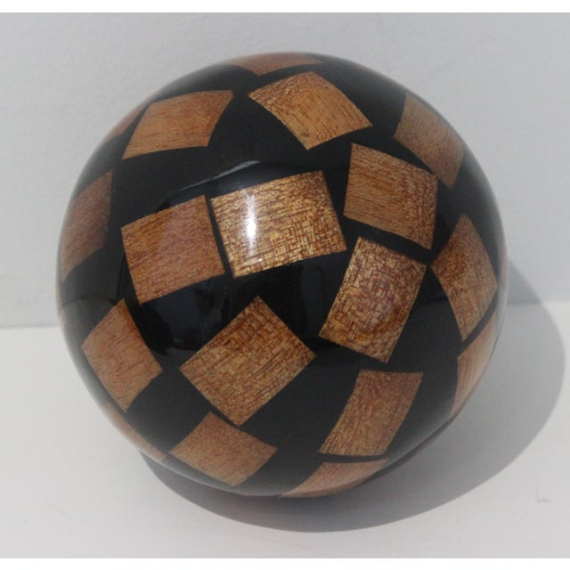 Wood Vintage Decorative Spheres of Random Lacquered Mahogany Chips - 5 Are Available For Sale - Image 7 of 7
