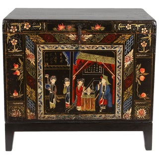 Chinese Painted Chest on Stand For Sale