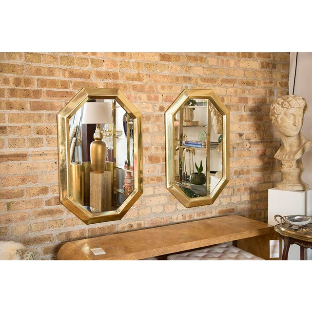 Brass Octagonal Mirrors - A Pair - Image 4 of 11