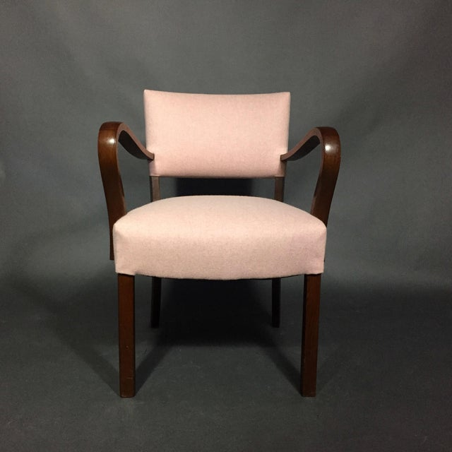 Mid-Century Modern 1940s Armchair in Dark Stained Oak, Felted Wool Upholstery For Sale - Image 3 of 10
