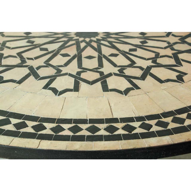 Beige Moroccan Mosaic Tile Table in Fez Moorish Design For Sale - Image 8 of 11