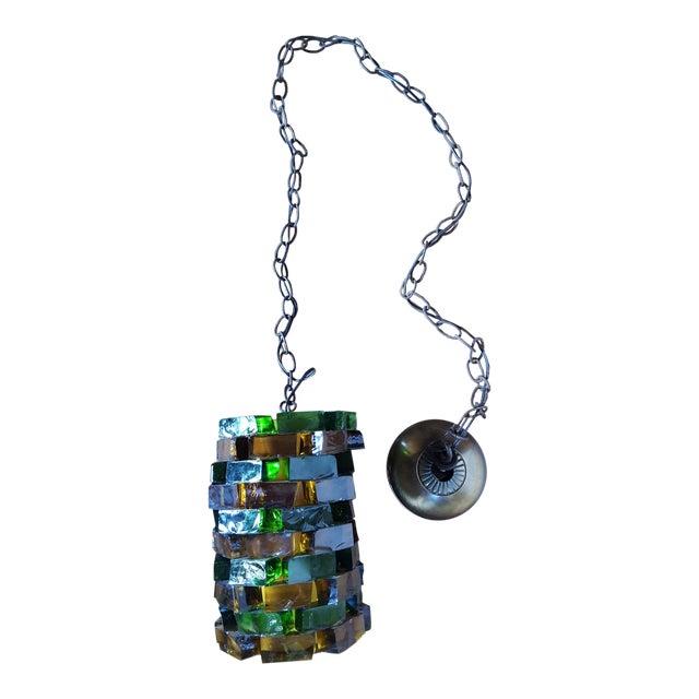 Mid-Century Glass Block Chandelier Light For Sale