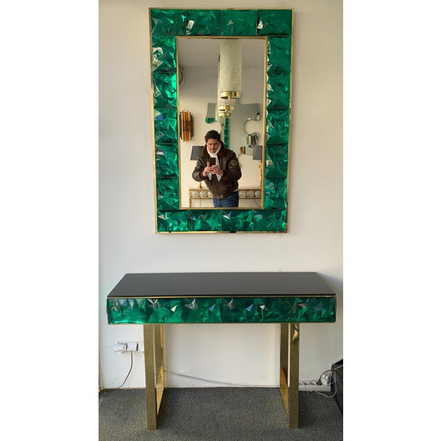 Contemporary Brass Mirror Console with Green Murano Glass, Italy For Sale - Image 13 of 13