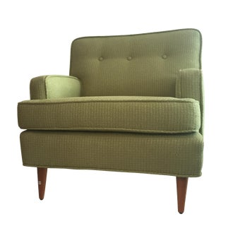 1950s Tufted Chartreuse Club Chair For Sale