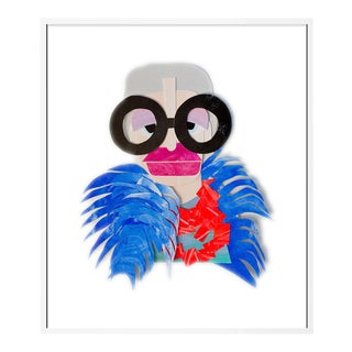 Iris with Blue Feather Cape by Melvin G in White Framed Paper, XS Art Print For Sale