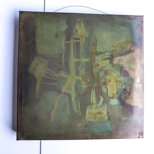 """Mid-Century Modern 1973 Metallic Abstract Art, Signed """"Giovenetti"""" For Sale - Image 3 of 5"""